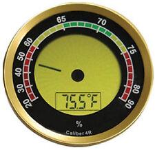 "Round Gold Digital Hygrometer - The Caliber 4R - 2 1/4"" in Diameter x .6"""