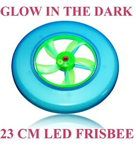 GLOW DARK LED LIGHT UP FRISBEE FLYING SAUCER DISC OUTDOOR UFO KIDS TOY GIFT SPIN