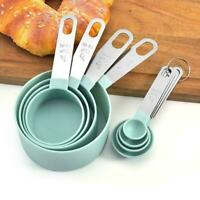 8Pcs Measuring Cups Spoons Baking Cooking Kitchen Tools Set Stainless Steel + PP