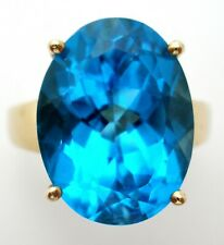 10K Yellow Gold Ring with London Blue Topaz Gemstone Size 7 Vintage 5.8 Grams