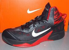 MENS NIKE ZOOM HYPERFUSE 2013 in colors BLACK / SILVER / UNIVERSITY RED SIZE 11
