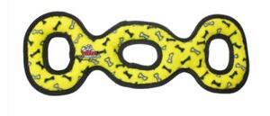 NEW Tuffy Ultimate 3-Way Tug Dog Toy Yellow Bones FREE SHIPPING