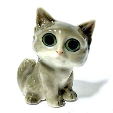 MINIATURE BIG EYES GREY CAT STATUE CERAMIC ANIMAL FIGURINE COLLECTIBLES DECOR