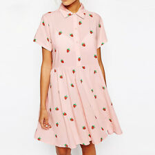 Fashion Short Sleeve Chiffon Pink High Waist Shirt Dress W Strawberry Prints