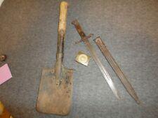 Ww1 Lot 3- Italian Brescia Bayonet/ German Imperial Buckle/Russian Trench Shovel
