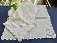 "6 Vintage White Fine Swiss Cotton 16"" Napkins Organdy Insert Tambour Embroidery"