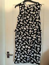 Peplum vestido negro tamaño 11 con diseño de Burbuja Blanco Excelente Estado