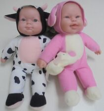 2 x  Berenguer Dolls - Berenguer Doll in Cow outfit and Pink outfit with puppy