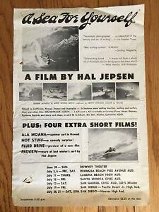 A Sea for Yourself Original Surf Movie Poster Handbill Surfing Hal Jepsen 1973