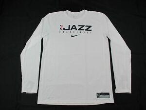 Utah Jazz Nike Long Sleeve Shirt Men's White Dri-Fit NEW Multiple Sizes