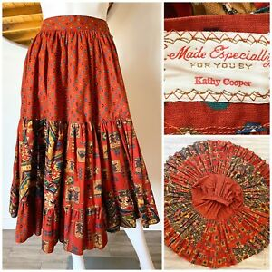 """VTG HANDMADE SOUTHWEST STYLE TIERED RUFFLE SKIRT RUSTY RED FITS XS (24"""" W)"""