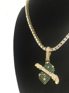 14K Gold Plated Flying Money Wings Hip Hop Pendent W/ Green & White Lab-Diamond