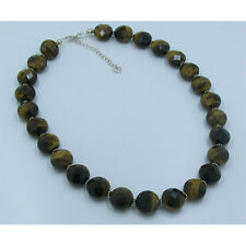 .925 Sterling Silver Natural High Grade Tigers Eye Faceted Cut Necklace