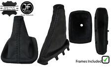 BLACK STITCH LEATHER SHIFT + E BRAKE BOOT + FRAMES FOR VOLVO C30 S40 V50 04-12