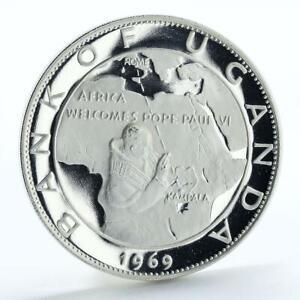 Uganda 20 shillings Visit of Pope Paul VI proof silver coin 1970