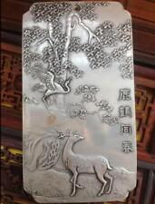 Chinese Deer Old Crane with Spring tibet Silver Bullion thanka amulet 135g