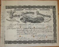 1874 Railroad Stock Certificate: 'Valley Railway Company' - Cleveland, Ohio OH