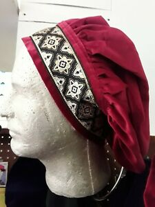 Cotton Velveteen Muffin Hat in 5 Colors with Medieval/Renaissance Trim