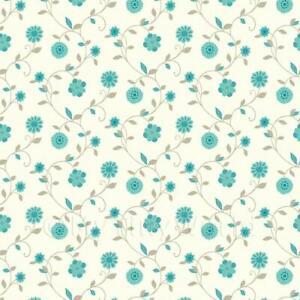 Puppenhaus Miniatur Gemischte Blaugrün Blumen Tapete