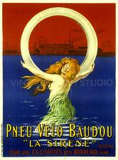La Sirène Baudou, 1910 by Cappiello Vintage Tire Poster Repro Canvas Print 20x27