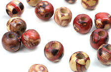100 ROUND WOOD BEADS ASSORTED PATTERNS 10MM