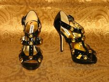 £139 STEVE MADDEN PATENT LEATHER GOLD STUD STRAPPY CAGE SANDALS HEELS 8 41 10