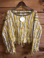 Simply Couture Women's Yellow A Frayed So Shaggy Fringe Sweater NWT Sz XL