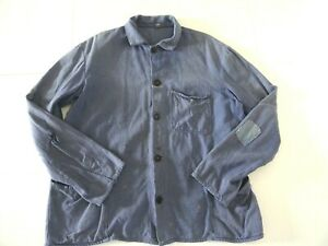 Vintage sunfaded French thrashed beat up patched hobo work chore workwear jacket