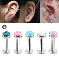 1X Fashion Opal Ear Cartilage Tragus Piercing G23 Solid Titanium Labret Lip Ring