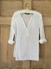 Zara Basic Top Blouse Light White Cotton - Frill V neck detail Size XS EUR 34