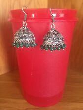 Bead Dangle Earrings-E4001 Silver And Green