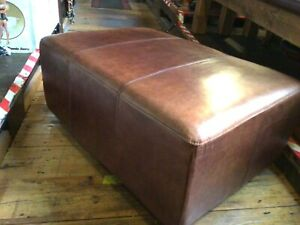 Pouffe Footstool Genuine Leather Halo Ottoman Seat Vintage Aniline 92*64cm