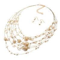 Gold/Silver Multilayer Pearl Pendant Necklace Earring Statement Jewelry Set
