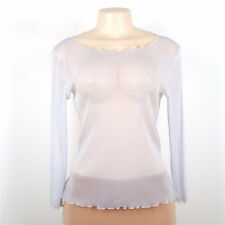Ladies Women's Long Sleeve Sheer Mesh SEE THROUGH Plain Top T-Shirt Blouse Black