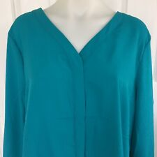 Liz Jordan Blue Womens Long Sleeve Shirt Blouse Top Button Up Teal Size 18 BNWT