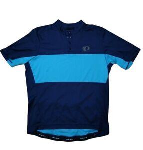 Pearl Izumi Select Cycling Shirt Polo Blue Short Sleeve 1/4 Snap Men Med