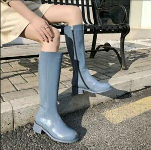 Retro Women's Patent Leather Chunky Heel Mid Calf Riding Shoes Combat Punk Boots