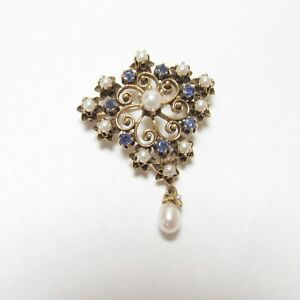 1940s Vintage 14K Yellow Gold Natural Sapphire And Pearl Pendant/Brooch 1.00 Ct
