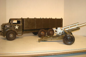 MARX LUMAR 1950 ARMY PICKUP TRANSPORTER TRUCK WITH MARX TRAILER CANNON #5417314