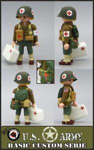 Playmobil Custom WW2 Sanitizing US Medical Cross Red Soldier Army Train Western