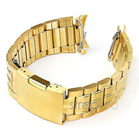 StrapsCo Curved or Straight End Yellow Gold  Stainless Steel Watch Band Strap