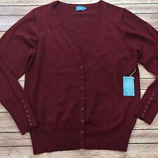 NWT Cielo Womens Size 2XL Burgundy Button Front Stretch V-Neck Cardigan Sweater