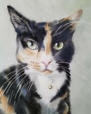 Calico Cat Art Painting PRINT Watercolor Portrait Realistic Realism Black White