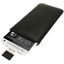 Cuero Negro lengüeta Bolsa Funda Holder Para Htc One Mini M4 Smartphone