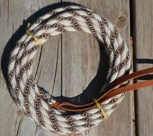 """Jose Ortiz 3/8"""" Mohair Mecate Rope Reins 22' - Natural, Tan, Black & White"""