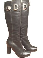 Dolce & Gabbana Womens Black Zipper DG logo Leather Boots, D&G Size 35.5, US 5.5