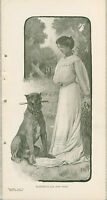 1904 Elizabeth Lea and Her Toothy Dog Don 6x12 Vintage Printed Photo of Actress