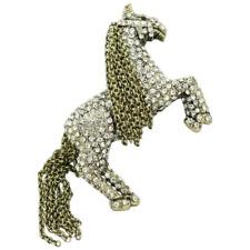 "HEIDI DAUS® ""Tally-Ho"" Crystal and Chain Horse Pin NWT"