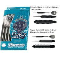 Harrows Black Arrow Brass Steel Tip Darts - Full Set - Choose Knurled or Ringed