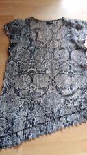 Next Petite Size 12 Sheer Patterned Top Grey/Black